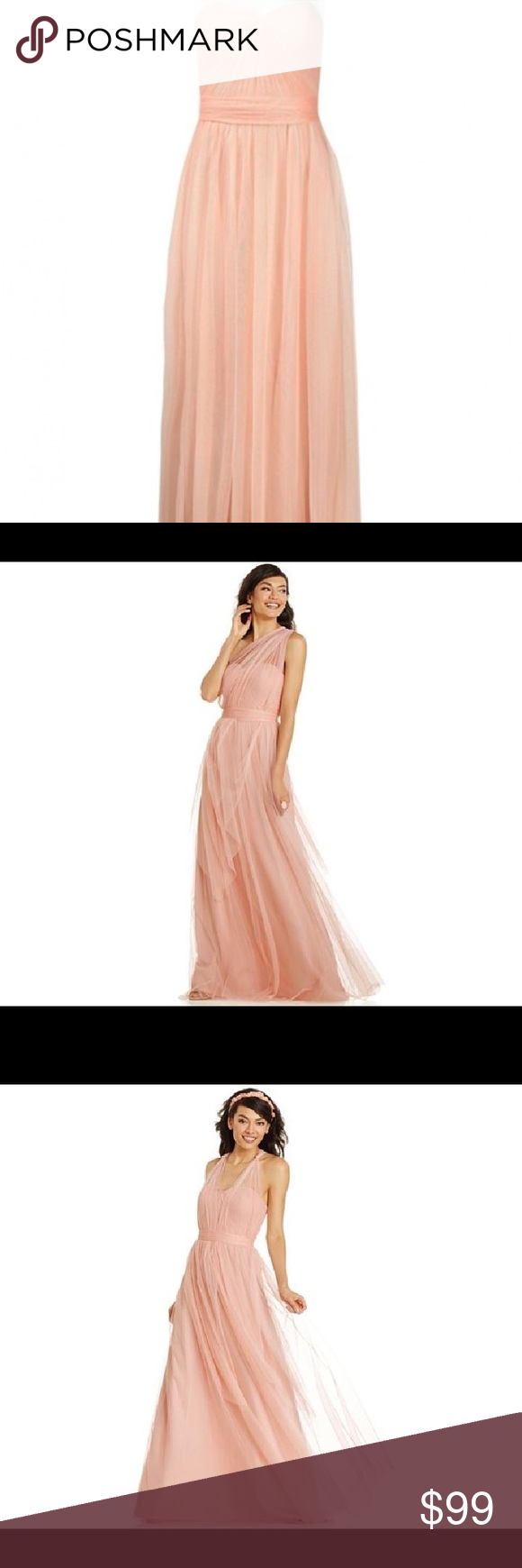 Adrianna papell strapless tulle convertible gown a full length