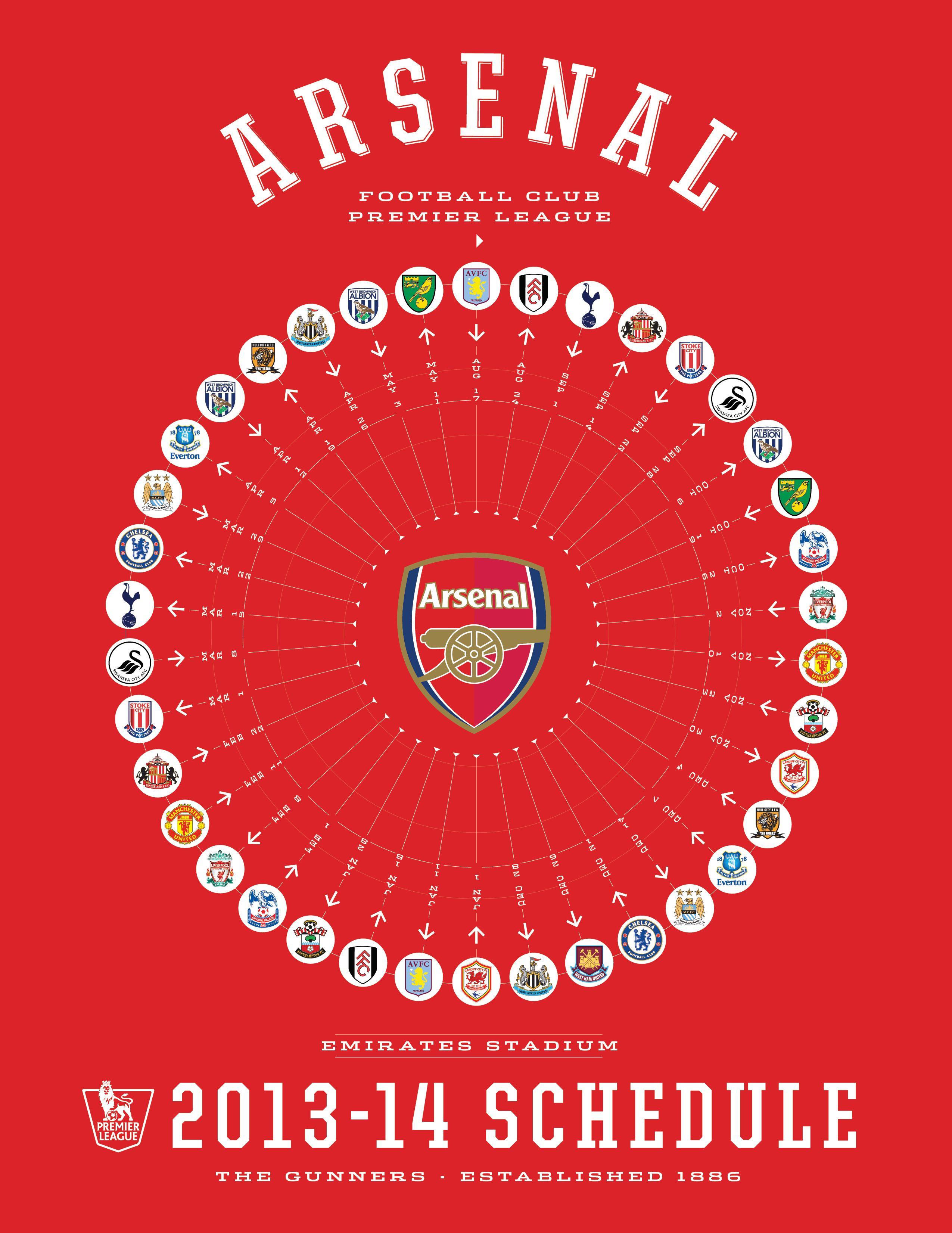 Arsenal 201314 premier league schedule 201314 premier