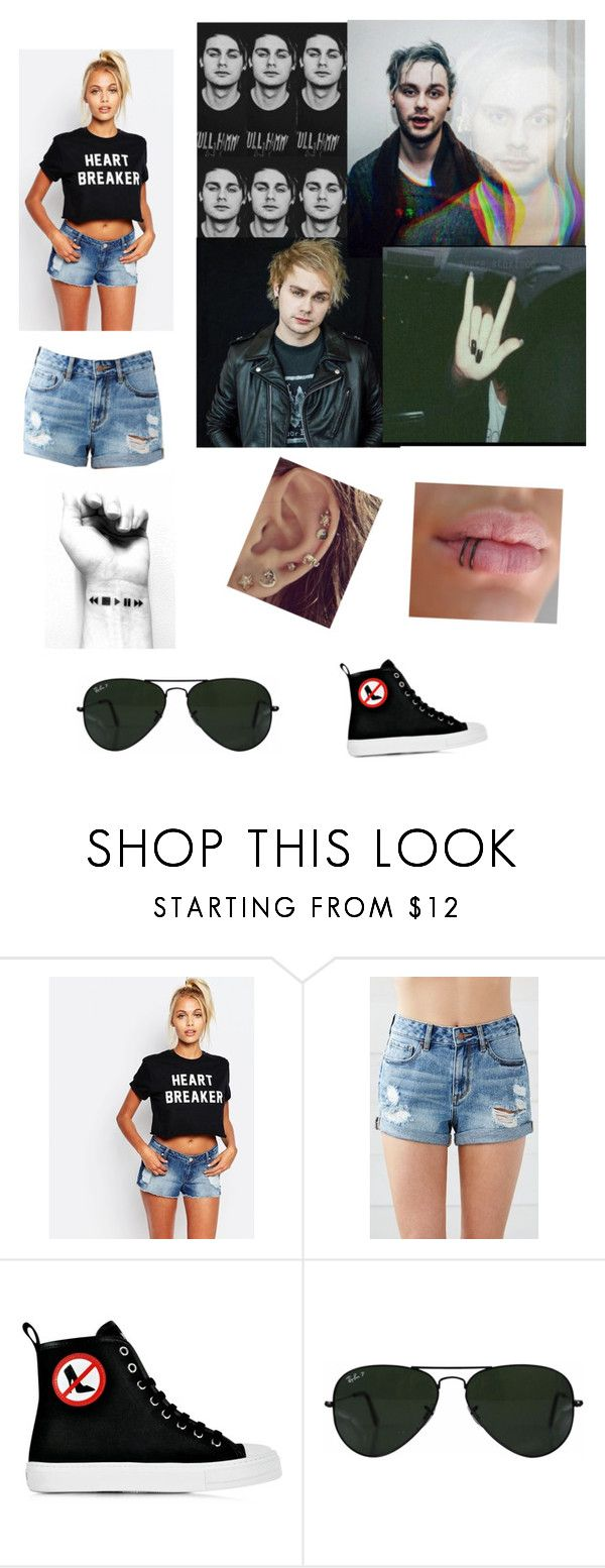 """Michael 🌚🤘🏻"" by dana12345 ❤ liked on Polyvore featuring Adolescent Clothing, Bullhead Denim Co., Moschino, Ray-Ban, michael, women and polyvorefashion"