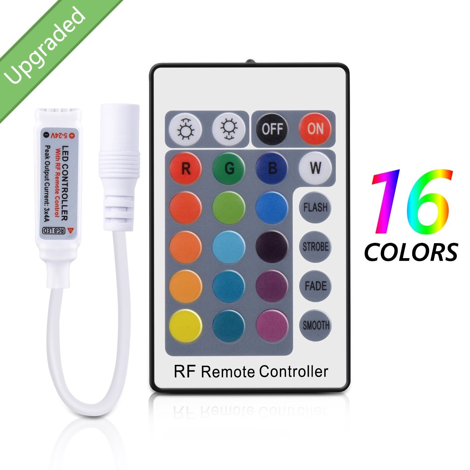 Rf Remote Controller For Rgb Color Led Strip Lights 24 Key Remote 12v Dc Multicolor Led Lights Remote Control For Dimmable 3528 5050 Strip Light 360 Degrees Con Led Strip Lighting Led Lights Led Color