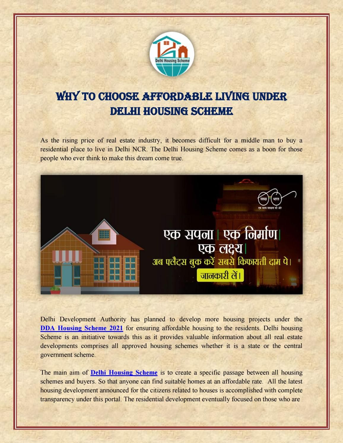 Why To Choose Affordable Living Under Delhi Housing Scheme Schemes Affordable Affordable Housing