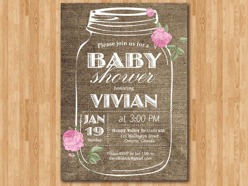 Rustic Mason Jar Burlap Baby Shower. Girl Baby Shower invites ...
