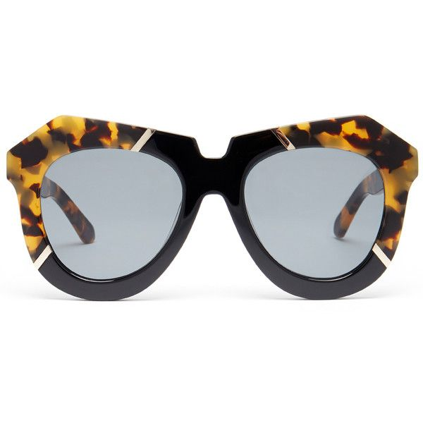 e4f82c7d775 Karen Walker One Splash Crazy Tortoise Black Cat-Eye Sunglasses ( 105) ❤  liked on Polyvore featuring accessories