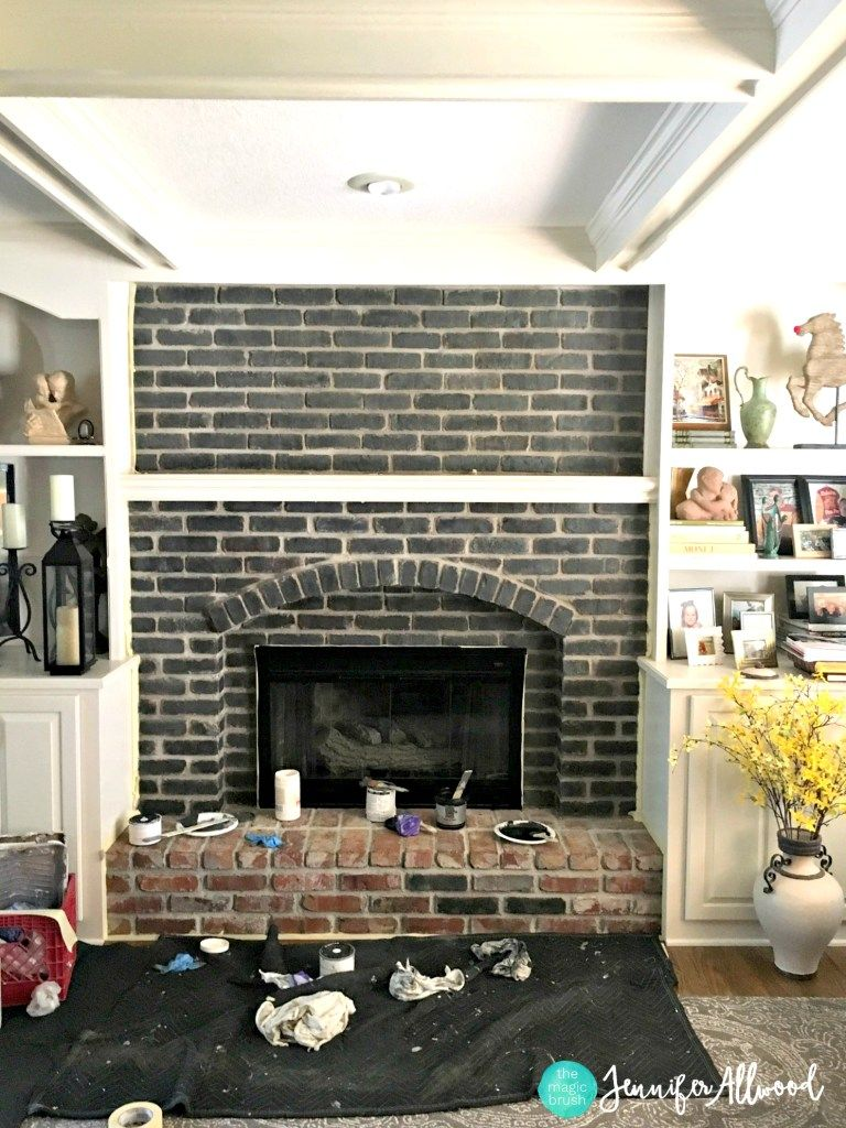 How to paint a black brick fireplace in living room