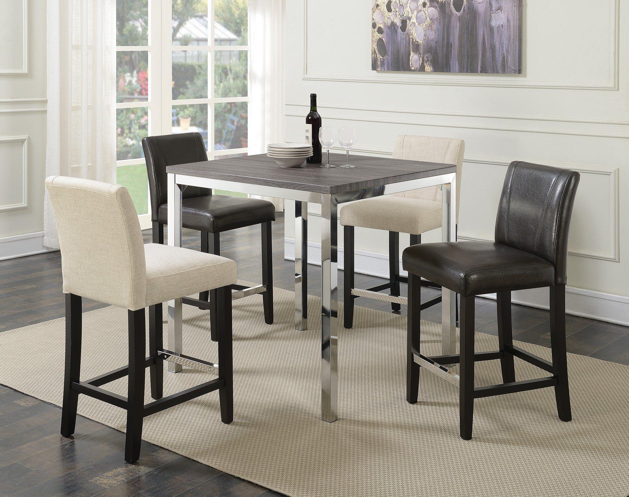 Coaster Eldridge Weathered Grey Chrome 5 Piece Dining Table Set