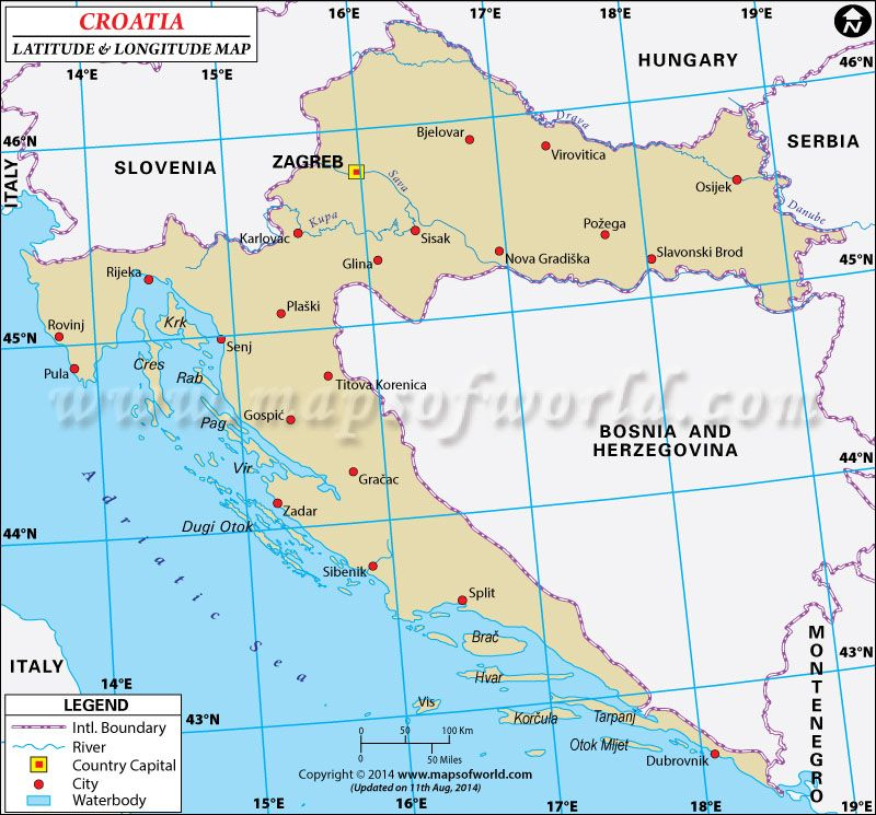Croatia latitude and longitude map latitude longitude maps pinterest latitude and longitude of croatia is 45 degrees n and 15 degrees e find croatia latitude and longitude map showing comprehensive details including cities gumiabroncs Image collections