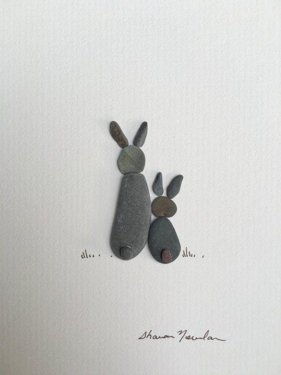 6 von 8 gerahmte Kiesel Kunst von Sharon nowlan von PebbleArt                                                                                                                                                                                 Mehr #cutebabybunnies