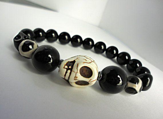 ALPHA MALE Black Obsidian Skull Bracelet  by LyndaHayesDesigns, $75.00