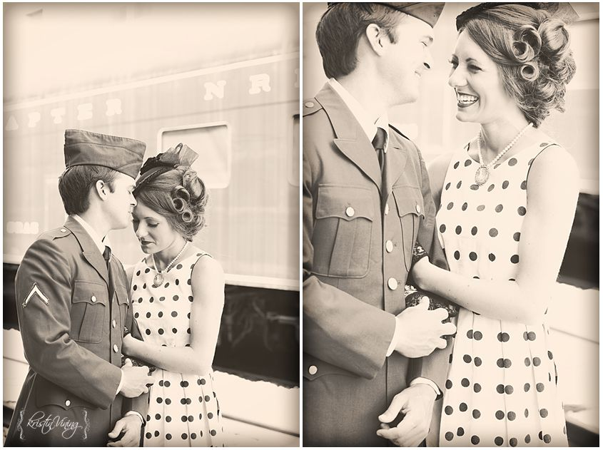 vintage train station engagement session 1940s themed military kristin vining photography charlotte