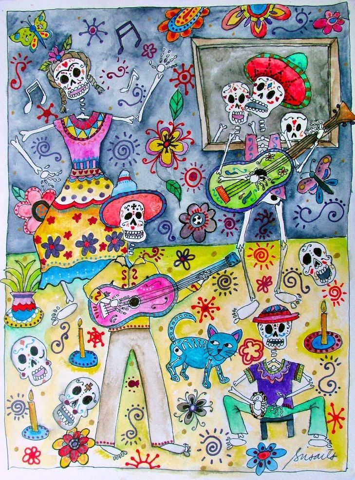 Mexican Day of the Dead Fiesta Frida Mariachi Guitar El Gato Pristine PRISARTS  #auction