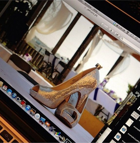 Wedding shoes w/ rings!  This photo was taken by my cousin Ruby on my wedding day!
