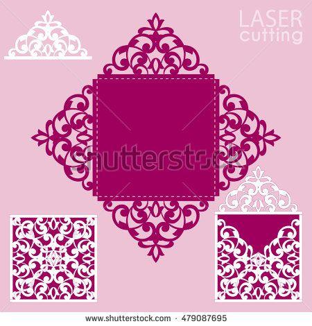Laser Cut Square Envelope With Patterned CornersWedding