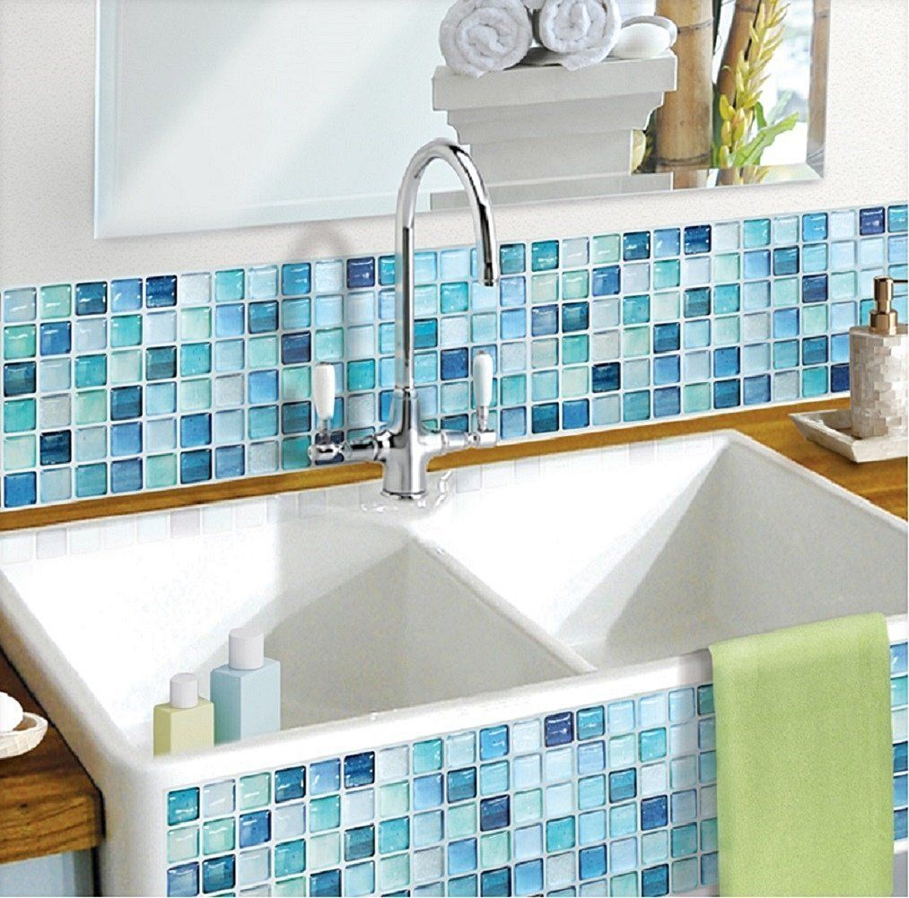Decor N Tile Glamorous Amazon Beaustile Mosaic 3D Wall Sticker Home Decor Nblue Inspiration Design