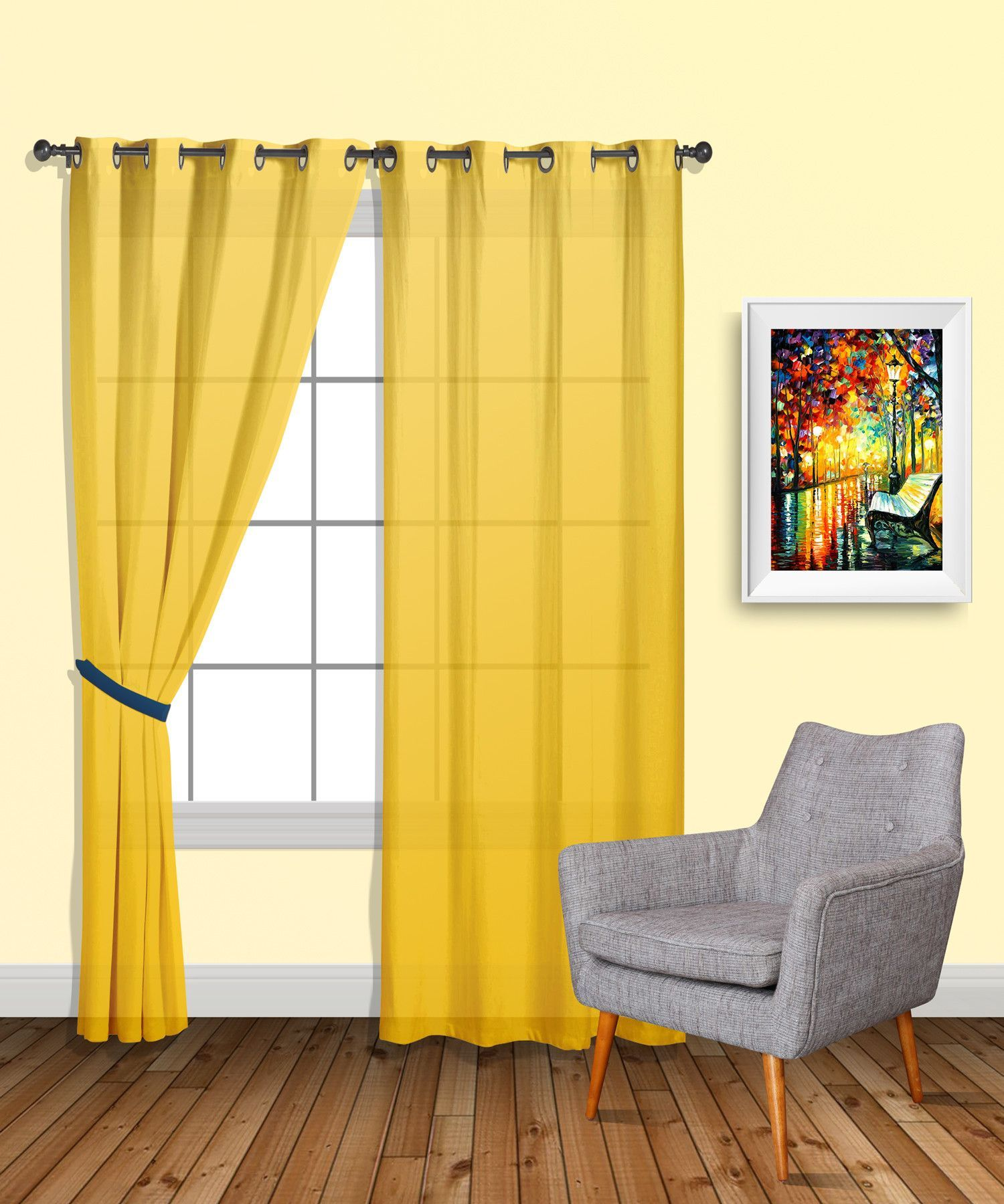 Bed against window with curtains  warm home designs  pair of yellow sheer window curtains and scarves
