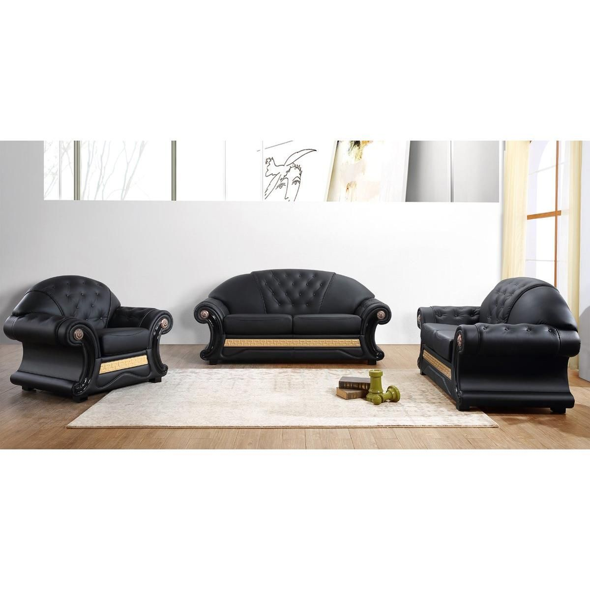 Divani Casa Cleopatra Traditional Black Leather Sofa Set | Black ...