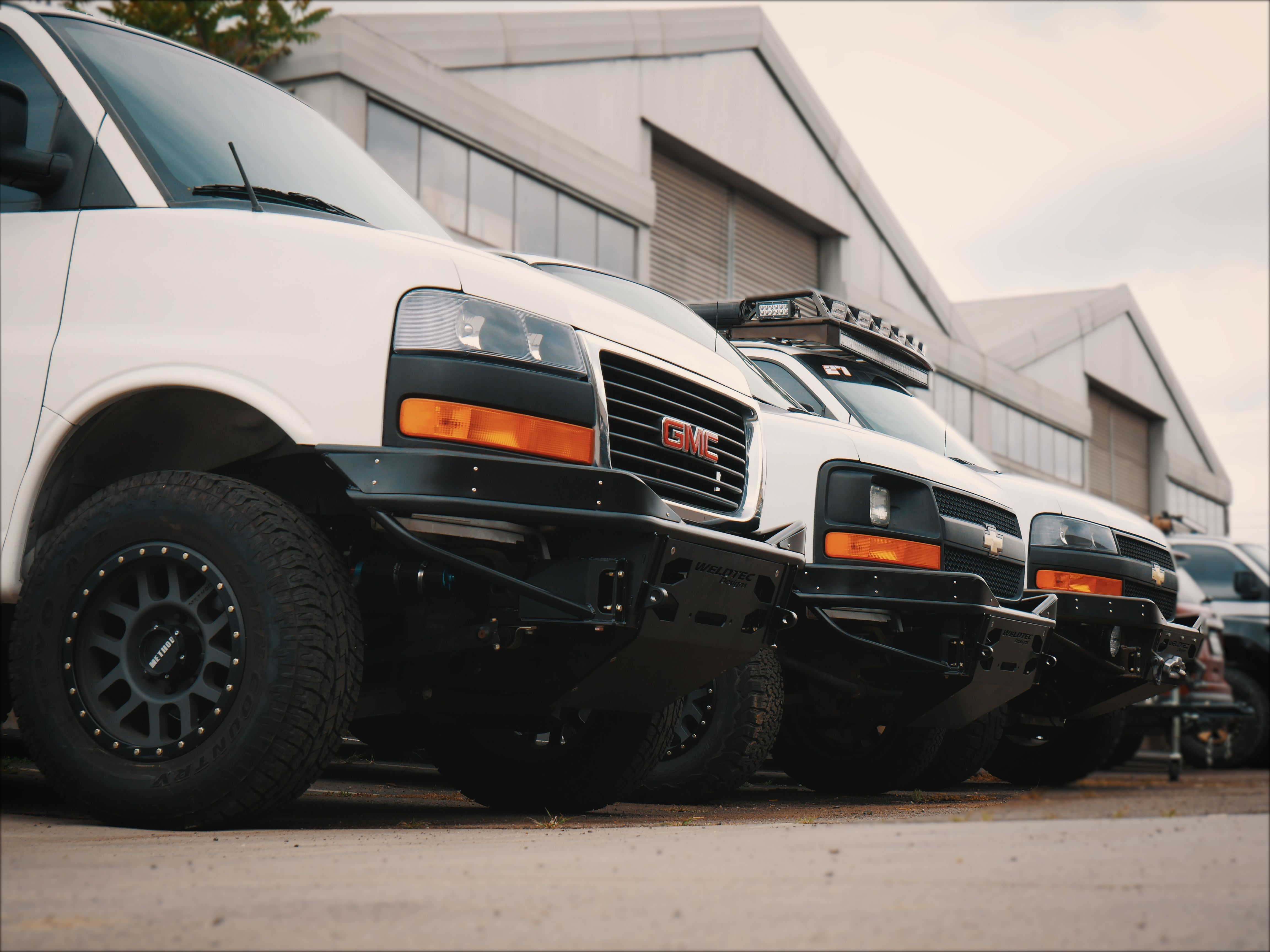 This Is Our Custom Chevy Express Stealth Tube Winch Bumper Lined Up On Some Rad Express Vans Van Vanbumper Cus Chevy Express Winch Bumpers Off Road Bumpers