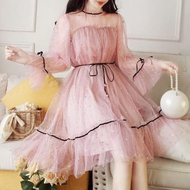 Amy Sukie: Sweet Sparkling Mesh Sequins Dress with Fairy Sleeves - pink Sequin dress / M