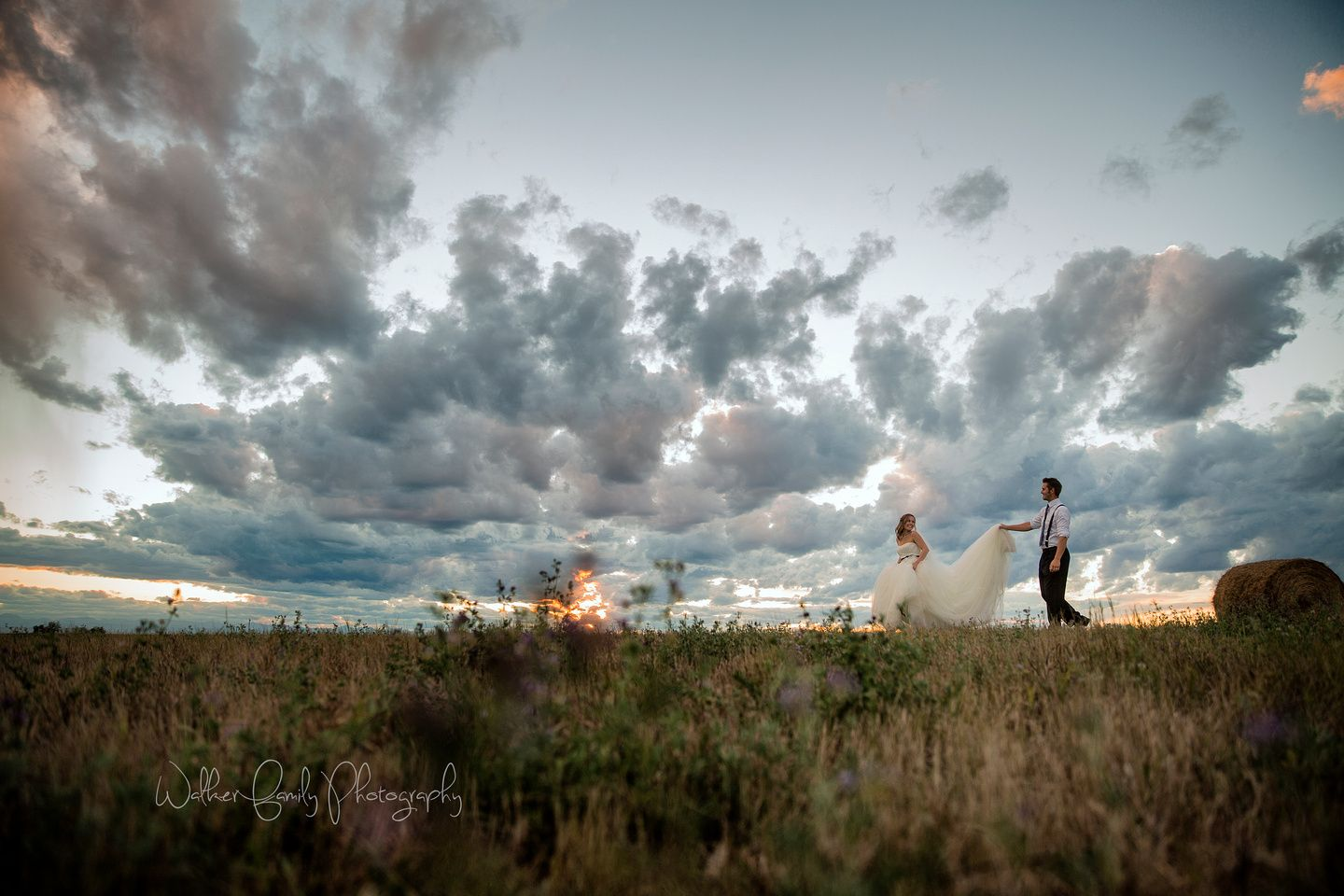 Bride and Groom Portraits on Farm Sunset Wedding Photography Blackie Alberta  Walker Photography www.walkerphoto.ca
