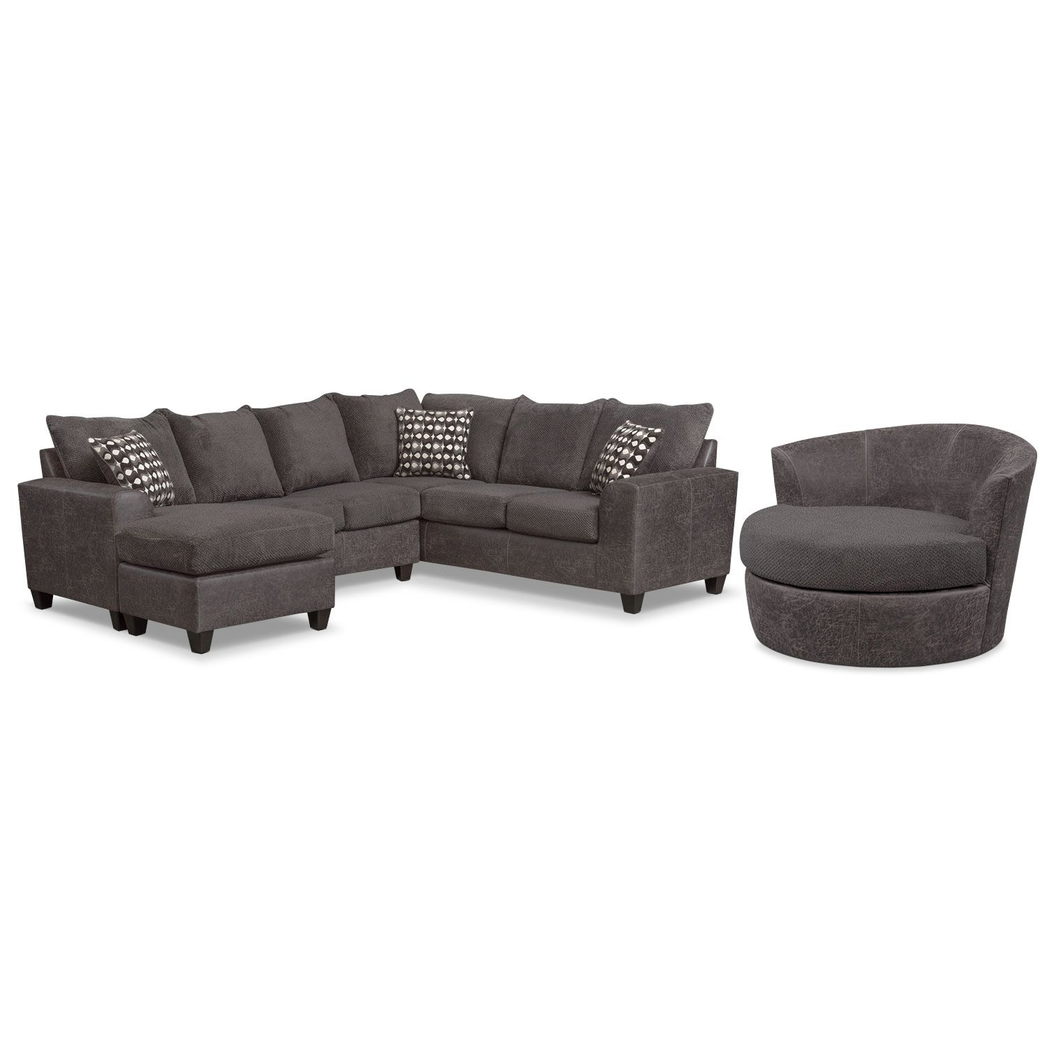 buy online d5079 d0fcb Brando 3-Piece Sectional with Chaise and Swivel Chair Set ...