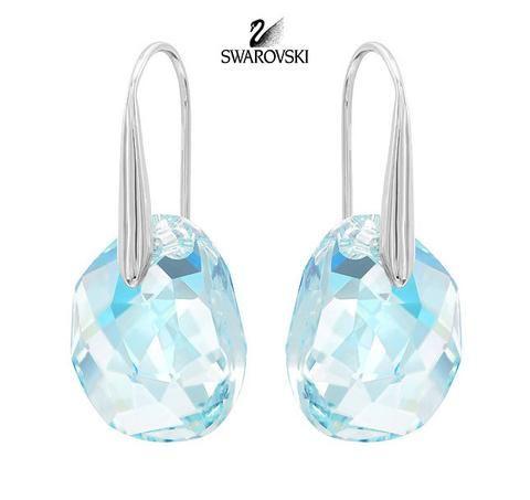 Swarovski Crystal Galet Light Azore Blue Pierced Earrings Rhodium 949740 Earings Piercings Swarovski Crystal Drop Earrings Swarovski Earrings