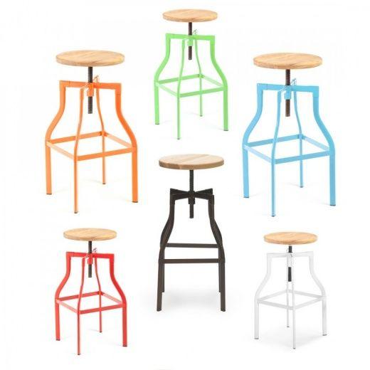 Weisser Industrieller Swivel Turner Hocker - von Cult Furniture UK ...