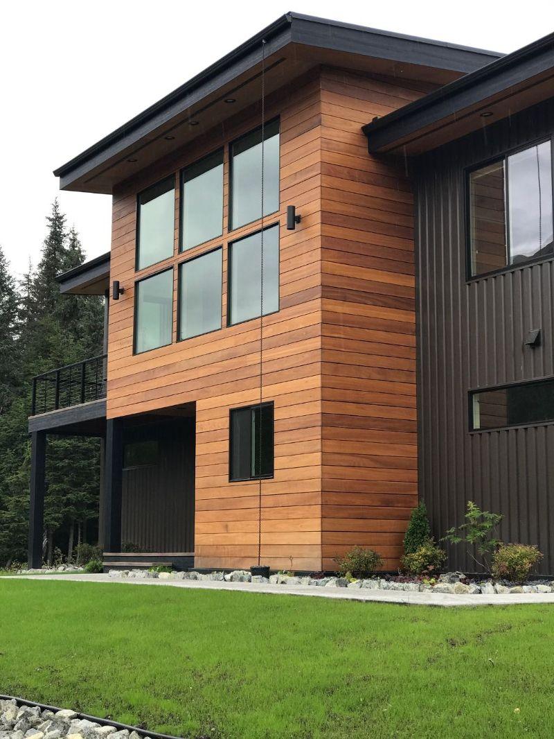 Contemporary Exterior Design Modern Wood Siding Modern House Exterior Elevation: Wood And Metal Design. Nova Batu Architecture, Corrugated Steel.