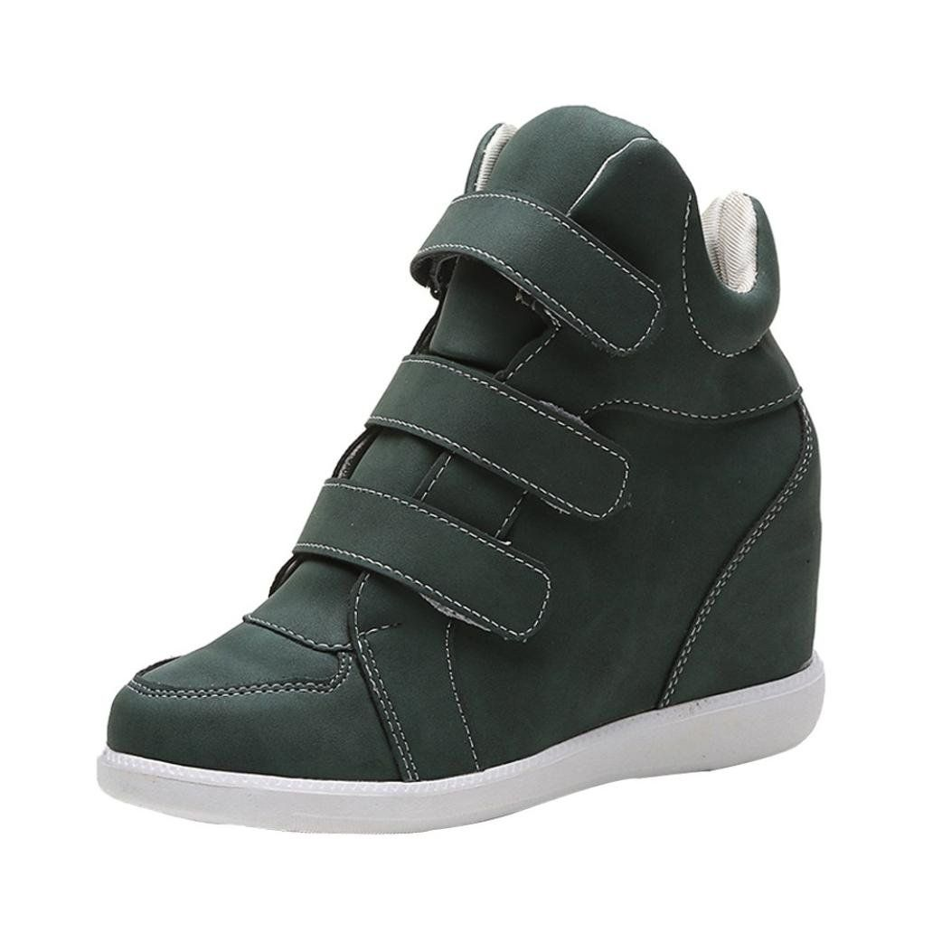 617b9369269 SUKEQ Womens High Top Wedge Sneakers, Hidden Heel Hook and Loop ...