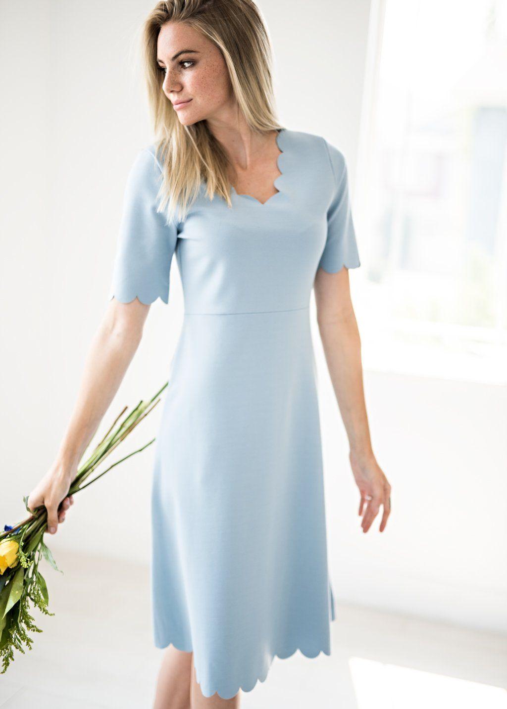 1d6016a65 Scalloped Midi Dress in Baby Blue, Modest Dress, Modest Light Blue Dress,  Little Details,Fall Maxi, Warm Maxi, Comfy Maxi, Floral Maxi, Bridal,  Modest, ...