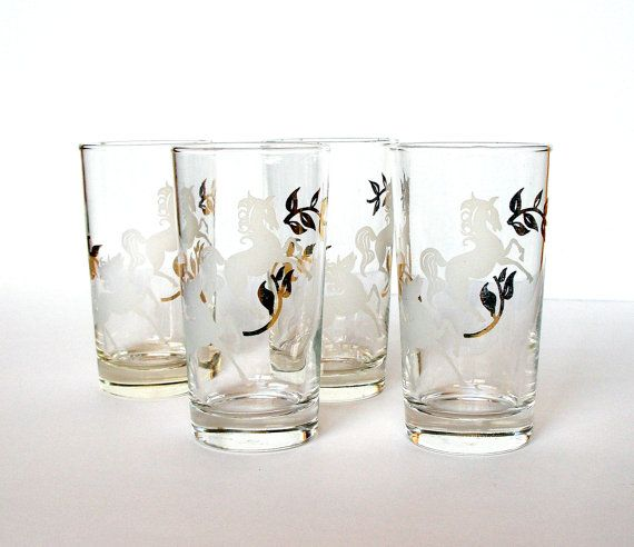 1960s Libbey Glware Set 4 Vintage Gles With Frosted Horses Gold Leaves