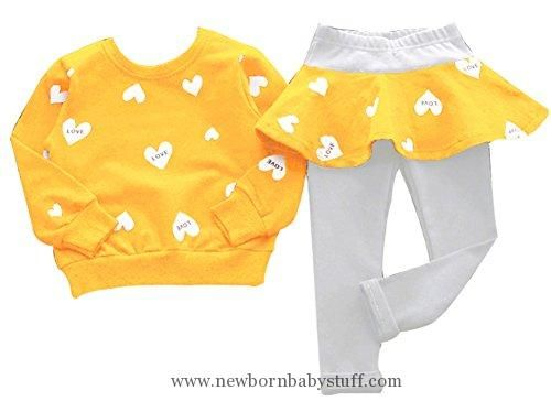 e1adb60df5bd Baby Girl Clothes BomDeals Adorable Cute Toddler Baby Girls Clothes Set,Long  Sleeve T-Shirt +Pants Outfit(YellowLove,Age(2T))