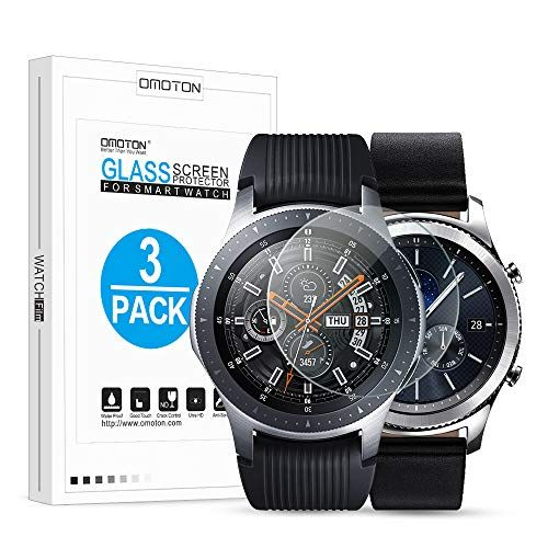 OMOTON Tempered Glass Screen Protector Compatible Samsung Gear S3 Galaxy Watch 46mm 3 Pa