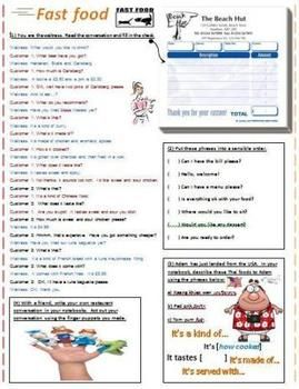 Fast Food Restaurant Dialogue Worksheet, Crosswords, Idioms