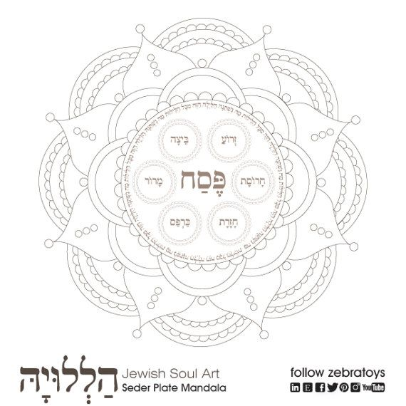 Seder Plate Mandala Passover Coloring Page 1 Printable Design