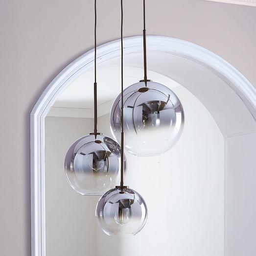 West Elm Sculptural Glass Globe 3 Light Chandelier   Mixed (Metallic Ombre)