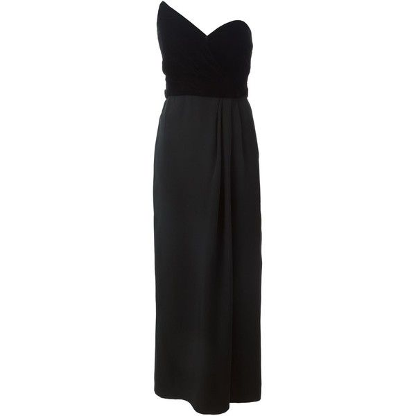 Yves Saint Laurent Vintage Strapless Evening Dress (5,030 CNY) ❤ liked on Polyvore featuring dresses, black, black velvet dress, vintage dresses, long dresses, black strapless cocktail dress and black corset