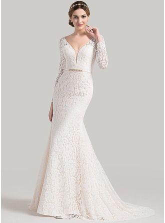 corte trompeta/sirena escote en v cola corte encaje vestido de novia