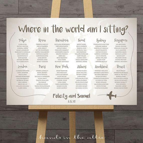World Map Wedding Seating Chart Travel Theme City Destination Table