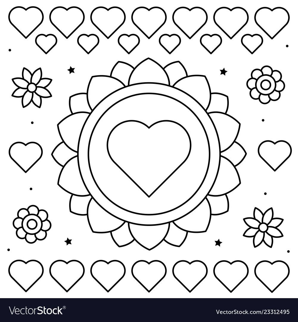 Coloring Page Of Flowers And Vector Image On Vectorstock Coloring Pages Flower Coloring Pages Cute Coloring Pages