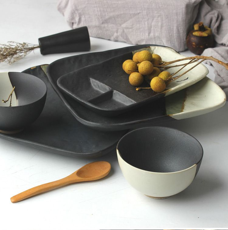 1 person dinnerware set Creative ceramic tableware return to the ancient Japanese solid color dinner plate soup bowl dish set & 1 person dinnerware set Creative ceramic tableware return to the ...