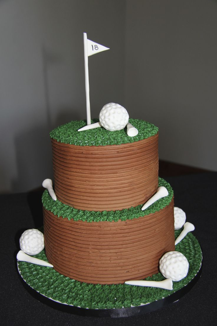 golf themed retirement cake with chocolate buttercream