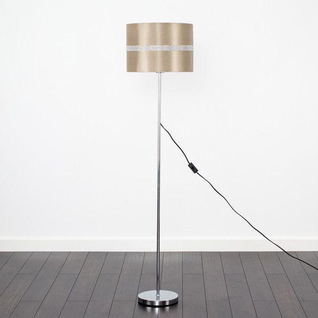 Charlie Chrome Stemmed Floor Lamp With Beige Diamante Shade Floor Lamp Silver Floor Lamp Contemporary Floor Lamps