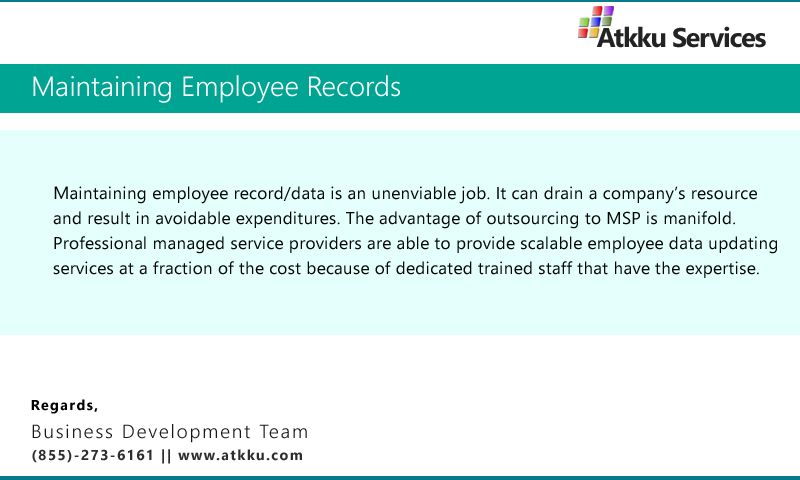 Importance of maintaining Employee records! Hr Services for Small