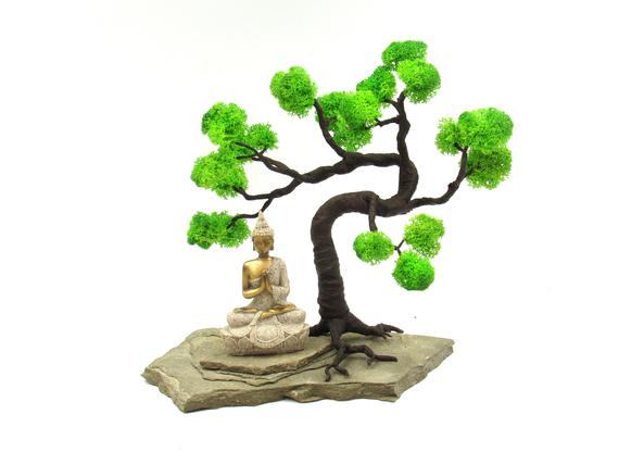 Mini zen garden with tiny Buddha statue light green artificial bonsai tree and natural stones stand Great for display on any desk bookshelf or table top If you need to re...