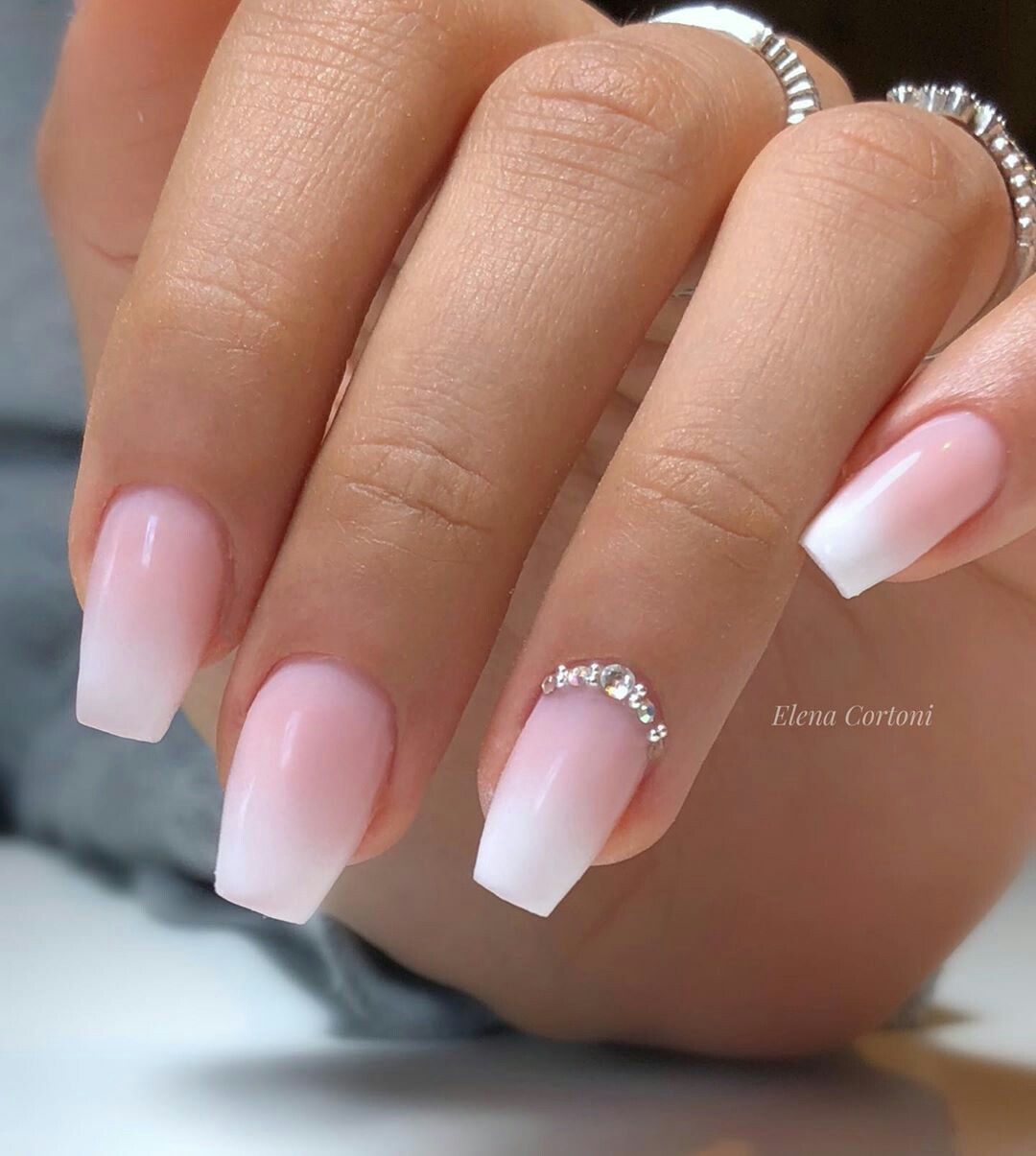 How To Do French Ombre Dip Nails Stylish Belles Short Acrylic Nails Designs Coffin Shape Nails Nails Design With Rhinestones