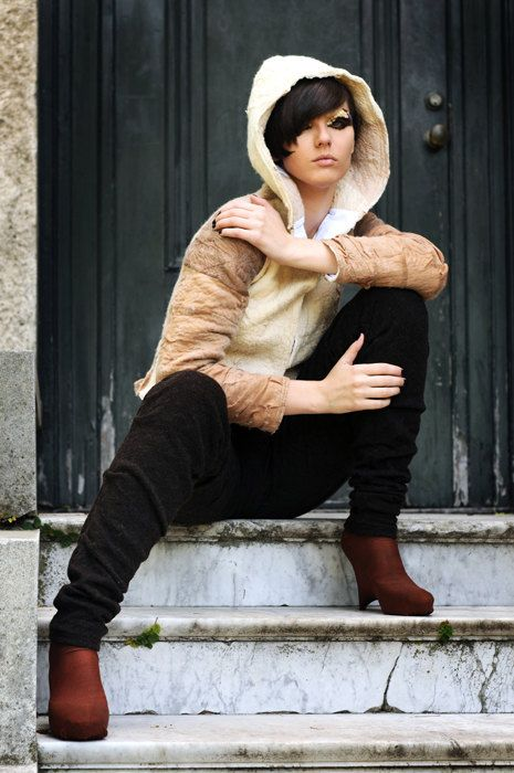 Nuno Felt Jacket recycled tights and merino wool /// by texturable, $370.00