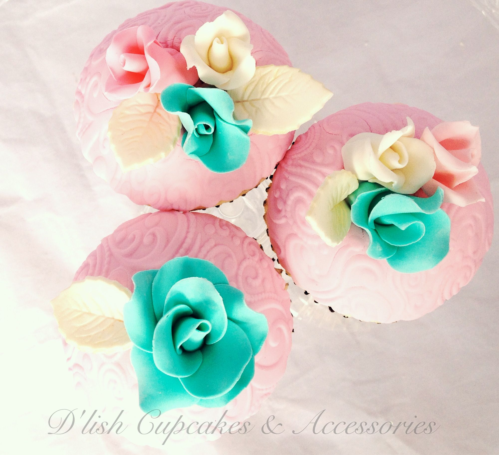Pink, turquoise white and gold cupcakes. Rose detail. Bespoke ...