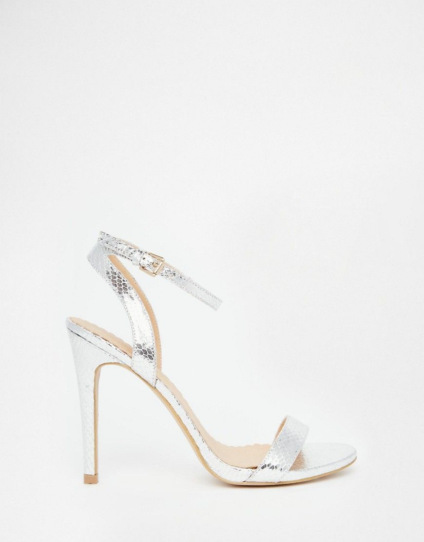 Head Over Heels By Dune Madame Silver Barely There Heeled