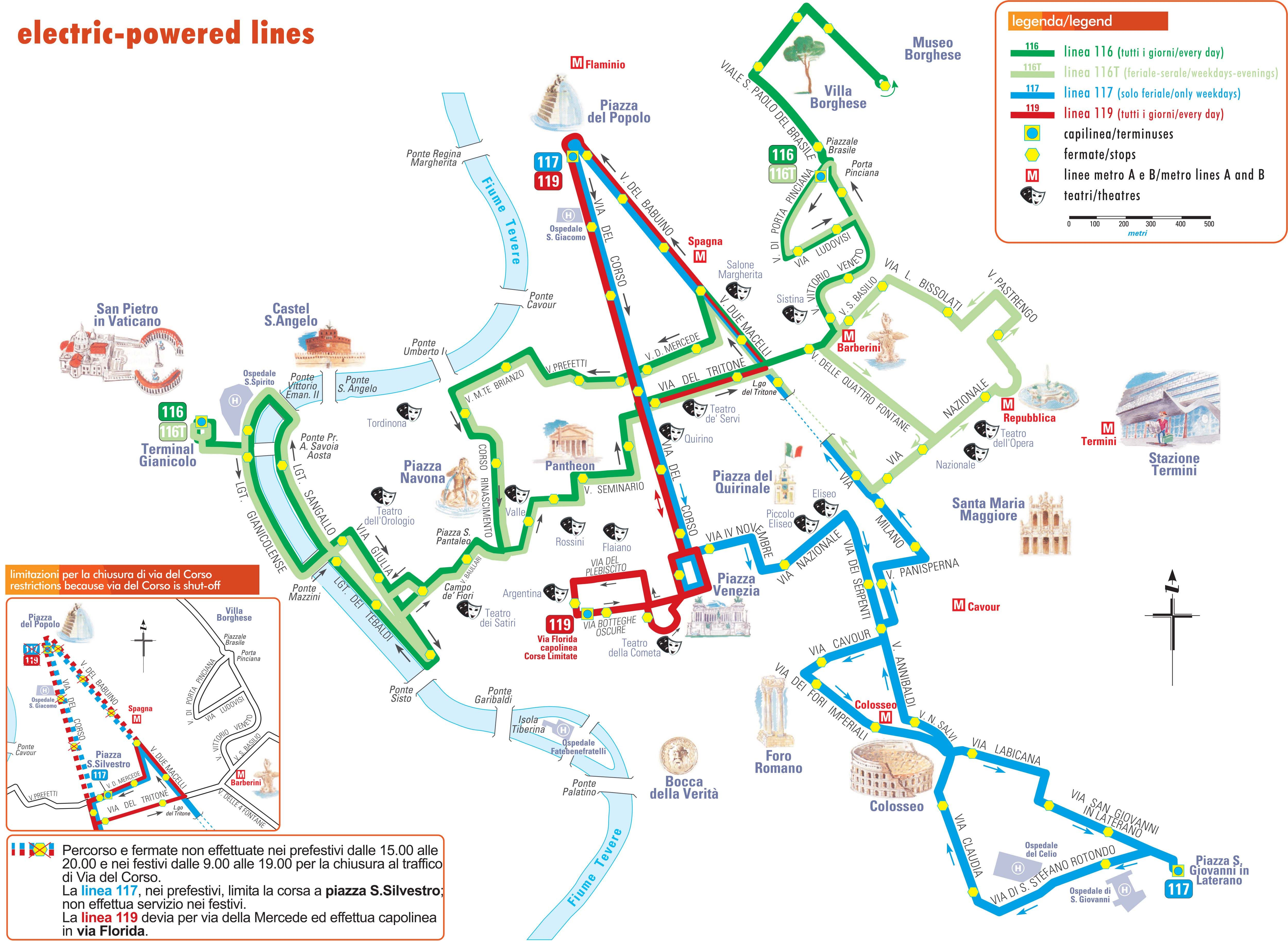 Map of Rome Bus Routes Map of trolleybus lines in Rome Vacation