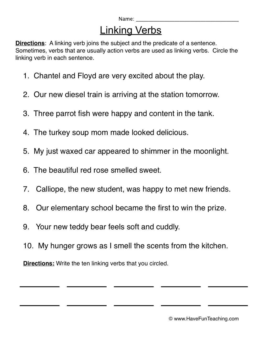 Verbs Worksheets Have Fun Teaching In 2020 Linking Verbs Verb Worksheets Linking Verbs Worksheet