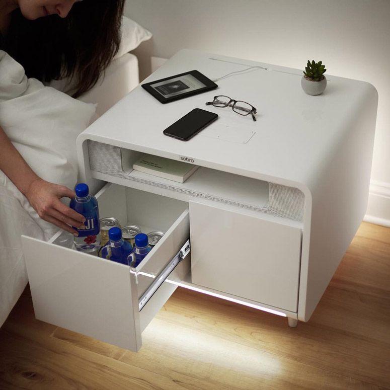 Sobro Smart Side Table Wireless Charging Fridge Mood Lighting